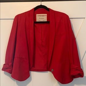 Anthropologie Crop Cherry Blazer